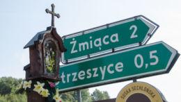 Przydrożna drewniana kapliczka skrzynkowa na słupku. Krosna, gmina Laskowa, powiat limanowski.