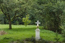 Przydrożny krzyż kamienny stojący w centrum wsi. Bogusza, gmina Kamionka Wielka, powiat nowosądecki.
