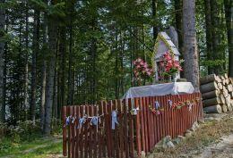 Przydrożna kapliczka drewniana. Sidzina, gmina Bystra-Sidzina, powiat suski.