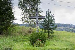 Kamienny krzyż przydrożny. Paleśnica, gmina Zakliczyn, powiat tarnowski.