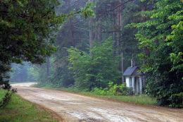 Przydrożna kapliczka drewniana z ok. 1935 r. Bojany, gmina Brok, powiat ostrowski.
