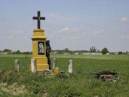 Kamienny krzyż przydrożny. Mokrzec, gmina Potworów, powiat przysuski.