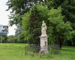 Figura św. Jana Nepomucena przy Dolinie Służewieckiej. Piotrowski Jakób Służewiczanom na pamiątkę 1864 r. Warszawa, Mokotów.