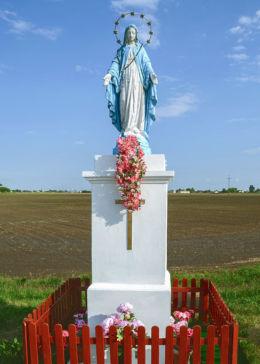 Przydrożna kapliczka murowana z figurą św. Maryi. Strzykuły, gmina Ożarów Mazowiecki, powiat warszawski zachodni.
