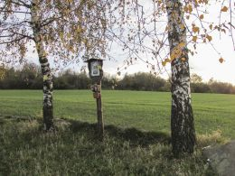 Przydrożna drewniana kapliczka skrzynkowa na słupku. Ligota Dolna, gmina Gogolin, powiat krapkowicki.