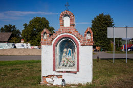 Kapliczka przydrożna, murowana. Gosławice, gmina Dobrodzień, powiat oleski.
