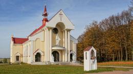 Przydrożna kapliczka stojąca obok kościoła Matki Bożej Nieustającej Pomocy. Nowy Nart, gmina Jeżowe, powiat niżański.