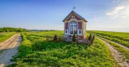 Przydrożna kapliczka stojąca na rozstaju dróg. Futoma, gmina Błażowa, powiat rzeszowski.