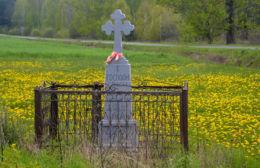 Przydrożny krzyż kamienny. Koszele, gmina Orla, powiat bielski.