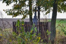 Kamienny krzyż przydrożny. Orla, powiat bielski.