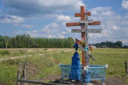 Przydrożne krzyże prawosławne. Borek, gmina Hajnówka, Hajnówka County.