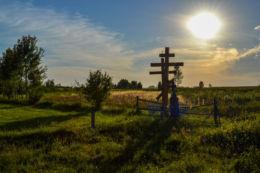 Prawosławny krzyż przydrożny. Borek, gmina Hajnówka, Hajnówka County.