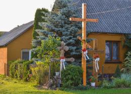 Prawosławny krzyż przydrożny. Dubicze Osoczne, gmina Hajnówka, Hajnówka County.