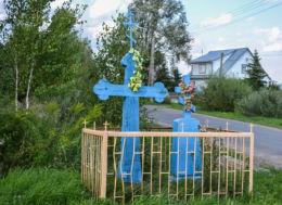 Prawosławny krzyż przydrożny. Hajnówka, Dolne, Hajnówka County.