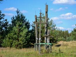 Prawosławny krzyż przydrożny. Istok, gmina Dubicze Cerkiewne, Hajnówka County.