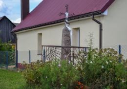Prawosławny krzyż przydrożny. Narew, Hajnówka County.