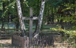 Przydrożny krzyż drewniany. Pogorzelce, gmina Białowieża, Hajnówka County.