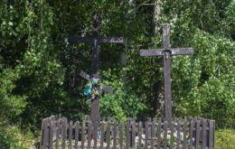 Krzyże przydrożne. Pogorzelce, gmina Białowieża, Hajnówka County.