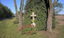 Krzyż przydrożny, ulica Częstochowska. Kamienica, gmina Woźniki, powiat lubliniecki.