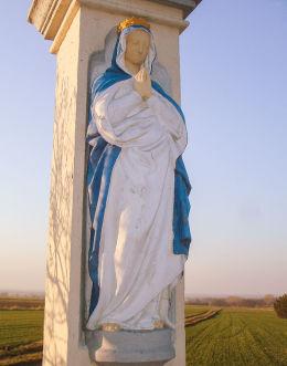 Przydrożny krzyż z Matką Boską z 1888 r. Mikołów,Bujaków, powiat mikołowski.