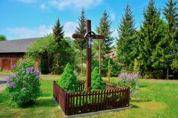 Krzyż św. Rocha. Woryty, gmina Gietrzwałd, powiat olsztyński.