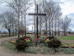 Krzyż przydrożny przy drodze z Lwówka. Chmielinko, gmina Lwówek, powiat nowotomyski.