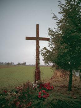 Drewniany krzyż przydrożny przy drodze do Niegolewa. Krystianowo, gmina Kuślin, powiat nowotomyski.
