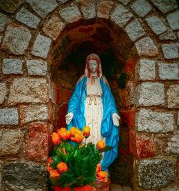 Przydrożna kapliczka Matki Boskiej przy ulicy Nowotomyskiej. Wąsowo, gmina Kuślin, powiat nowotomyski.