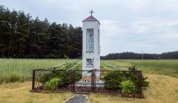 Kapliczka Matki Boskiej przy drodze do Czarnotek. Lubonieczek, gmina Zaniemyśl, powiat średzki.