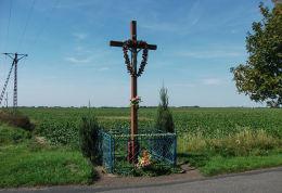 Krzyż przydrożny przy wjeździe do wsi od strony Manieczek. Błociszewo, gmina Śrem, powiat śremski.