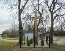 Krzyż przydrożny u zbiegu ulic Wolsztyńskiej i Nowej. Kębłowo, gmina Wolsztyn, powiat wolsztyński.