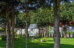 Przydrożna kapliczka oszklona z figurą św. Maryi. Tarnówka, powiat złotowski.