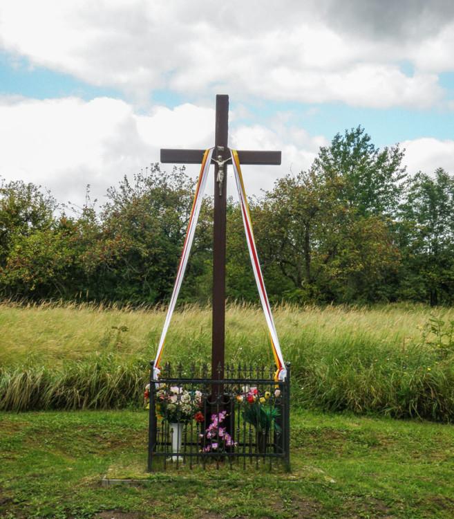 Krzyż na ulicy Nehringa  obok posesji nr.13. 53.489123, 14.596995 Szczecin, Szczecin.